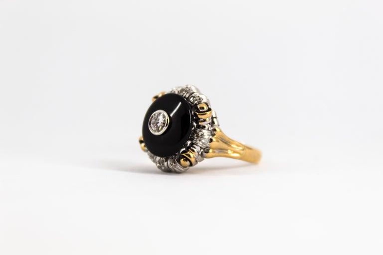 Renaissance Style 0.20 Carat White Diamond Onyx Yellow Gold Cocktail Ring For Sale 6