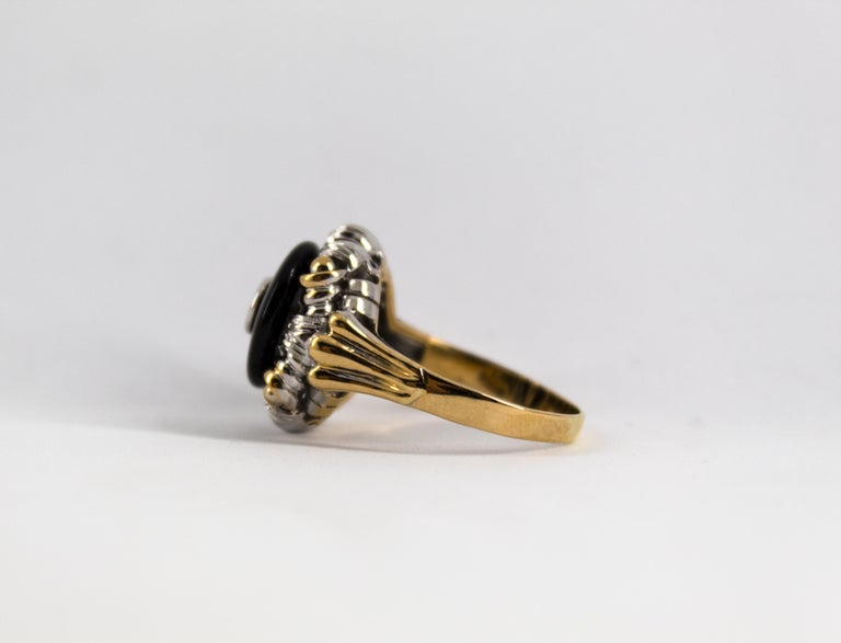 Renaissance Style 0.20 Carat White Diamond Onyx Yellow Gold Cocktail Ring For Sale 7