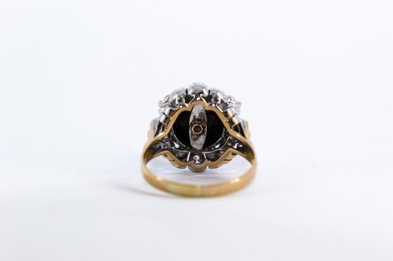 Renaissance Style 0.20 Carat White Diamond Onyx Yellow Gold Cocktail Ring For Sale 8