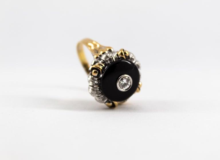 Renaissance Style 0.20 Carat White Diamond Onyx Yellow Gold Cocktail Ring For Sale 9