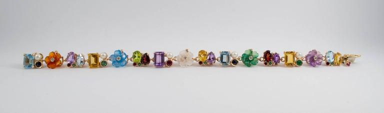 Art Nouveau Emerald Ruby Sapphire Pearl Diamond Yellow Gold Flowers Bracelet For Sale