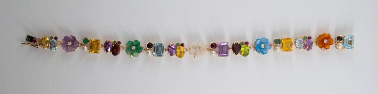 Emerald Ruby Sapphire Pearl Diamond Yellow Gold Flowers Bracelet In New Condition For Sale In Naples, IT