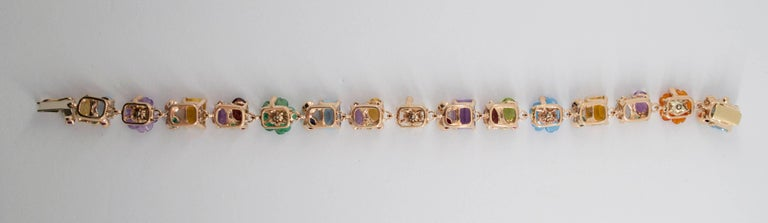 Emerald Ruby Sapphire Pearl Diamond Yellow Gold Flowers Bracelet For Sale 1