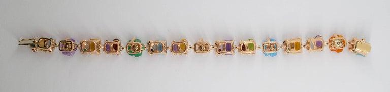 Emerald Ruby Sapphire Pearl Diamond Yellow Gold Flowers Bracelet For Sale 2