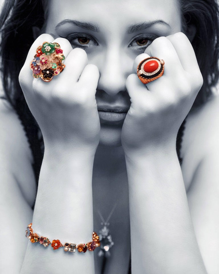 Emerald Ruby Sapphire Pearl Diamond Yellow Gold Flowers Bracelet For Sale 3