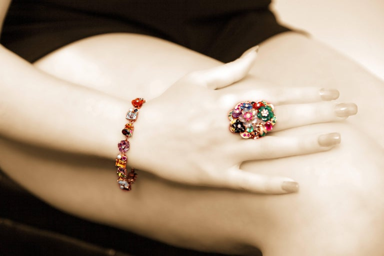 Emerald Ruby Sapphire Pearl Diamond Yellow Gold Flowers Bracelet For Sale 4