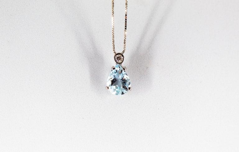 Art Deco Style 0.03 Carat Diamond 1.20 Carat Aquamarine White Gold Necklace For Sale 1