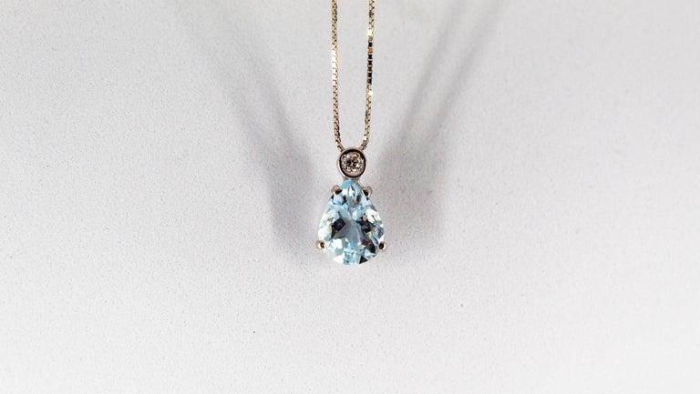 Art Deco Style 0.03 Carat Diamond 1.20 Carat Aquamarine White Gold Necklace For Sale 2