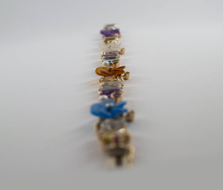 Women's or Men's Emerald Ruby Sapphire Diamond Citrine Agate Pearl Yellow Gold Flowers Bracelet For Sale