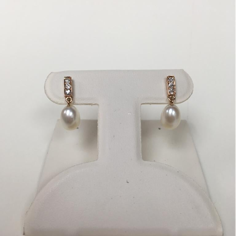 Women's or Men's 18 Karat Rose Gold Freshwater Pearls and Diamond Earrings For Sale
