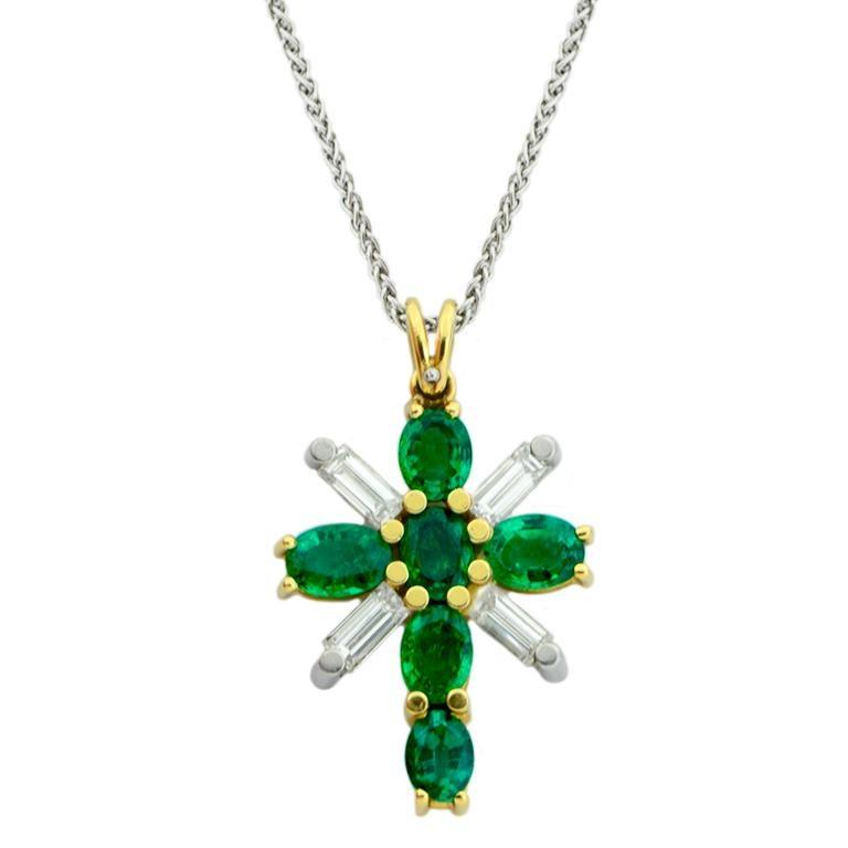 Platinum and 18 Karat Yellow Gold Emerald and Diamond Cross Pendant on Chain