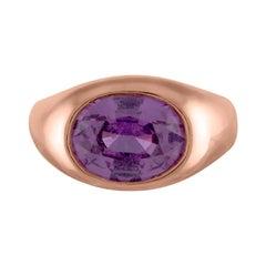 Handmade 18 Karat Rose Gold Bezel and 3 Carat Oval Purple Sapphire Ring