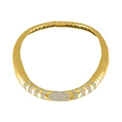 18 Karat Yellow Gold and Diamond Collar Estate Necklace