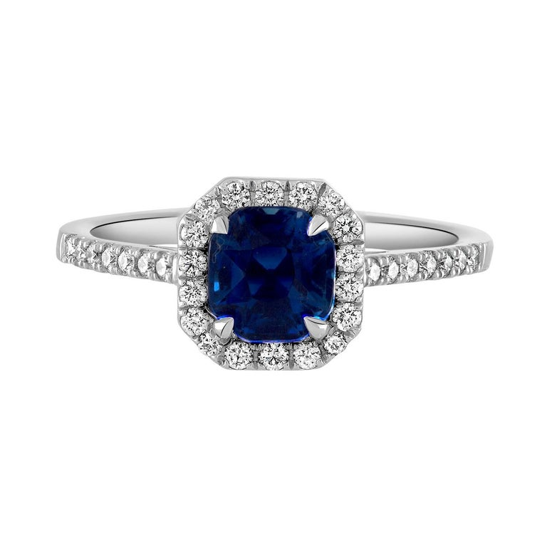 Handmade Platinum, Certified Kashmir Blue Sapphire and Diamond Surround Ring