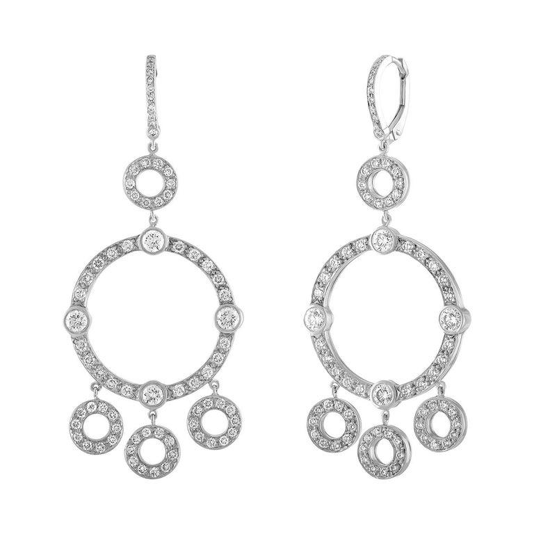 18 Karat White Gold and Diamond Circle Drop Chandelier Earrings