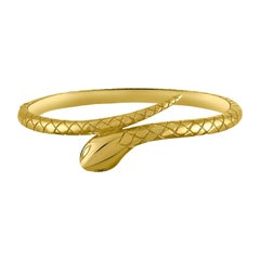 Solid Handmade 18 Karat Yellow Gold Hinged Snake Bangle