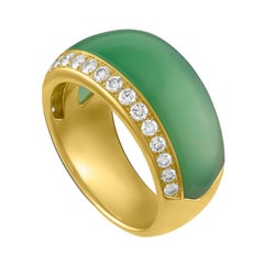 18 Karat Yellow Gold, Chrysophase and Diamond Ring