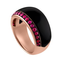 18 Karat Rose Gold, Onyx and Ruby Ring