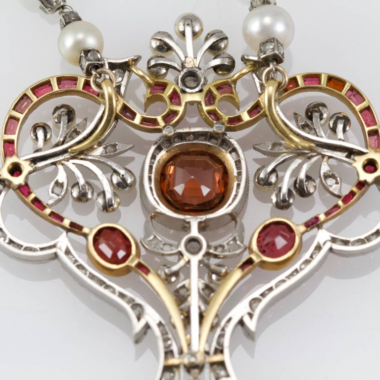 Belle Epoque Diamond, Spinelle, Garnet and Pearls Necklace from Paris In Good Condition For Sale In Paris, FR