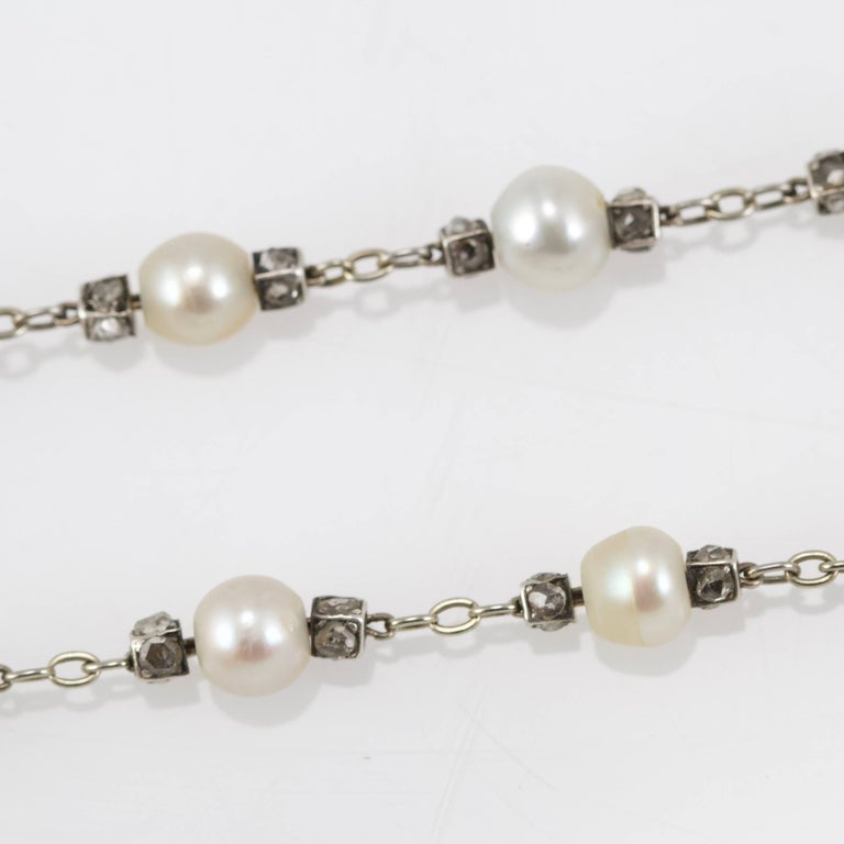 Belle Epoque Diamond, Spinelle, Garnet and Pearls Necklace from Paris For Sale 3