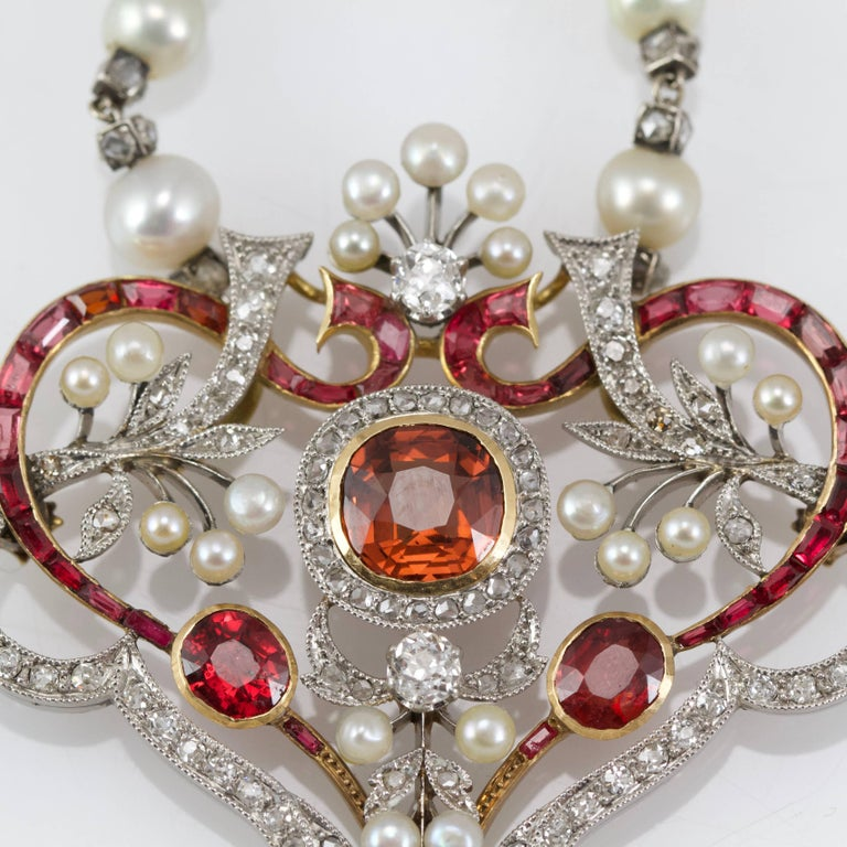 Women's or Men's Belle Epoque Diamond, Spinelle, Garnet and Pearls Necklace from Paris For Sale