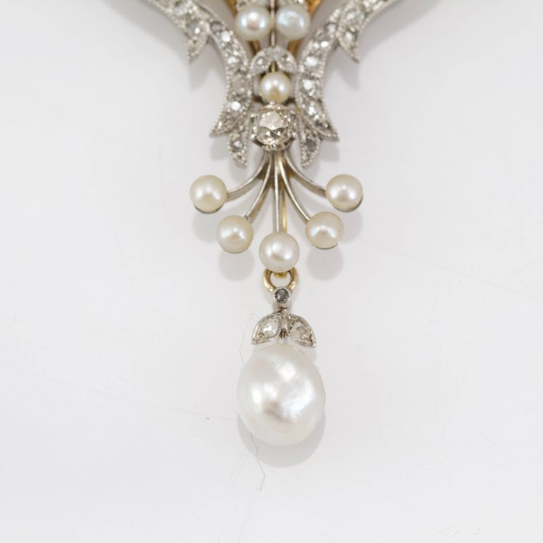 Belle Epoque Diamond, Spinelle, Garnet and Pearls Necklace from Paris For Sale 4