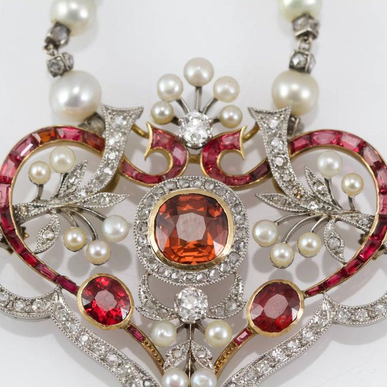 Art Nouveau Belle Epoque Diamond, Spinelle, Garnet and Pearls Necklace from Paris For Sale