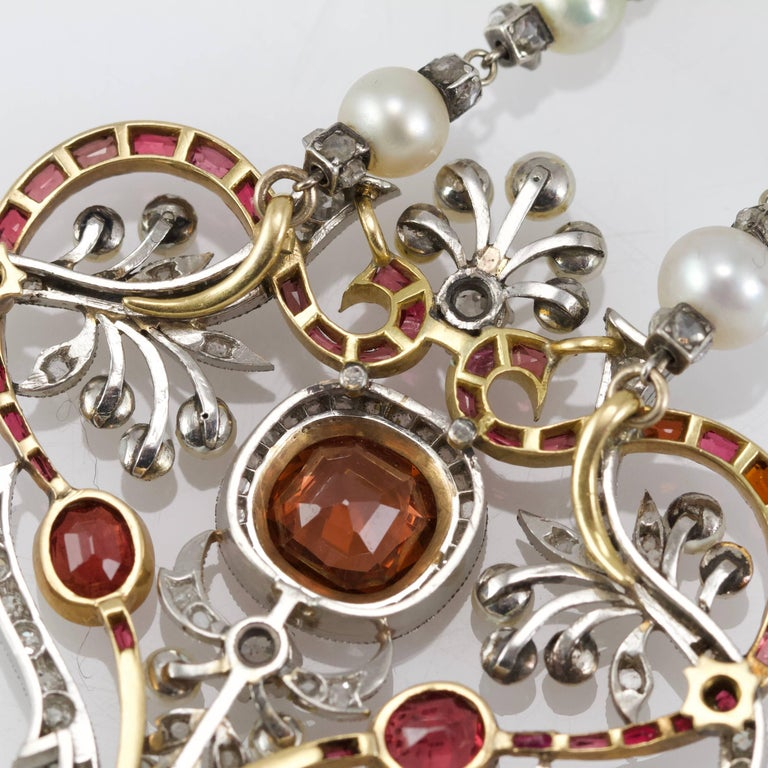 Belle Epoque Diamond, Spinelle, Garnet and Pearls Necklace from Paris For Sale 1