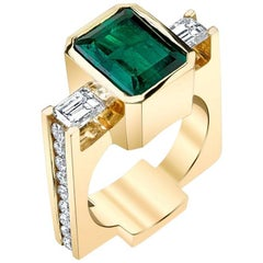 """La Fée Verte"" 'The Green Fairy' Yellow Gold Ring with Emerald and Diamonds"