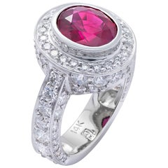 """""""Soleil Couchant"""" The Color of Passion"""" White Gold Ring with Ruby and Diamonds"""