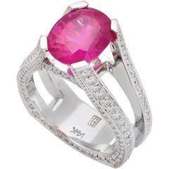 """""""Extase Rose"""" White Gold Ring with Pink Sapphire and Diamonds"""