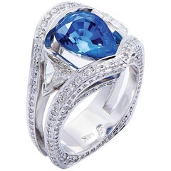 """""""Belle De Nuit"""" White Gold Ring with Blue Sapphire and Diamonds"""