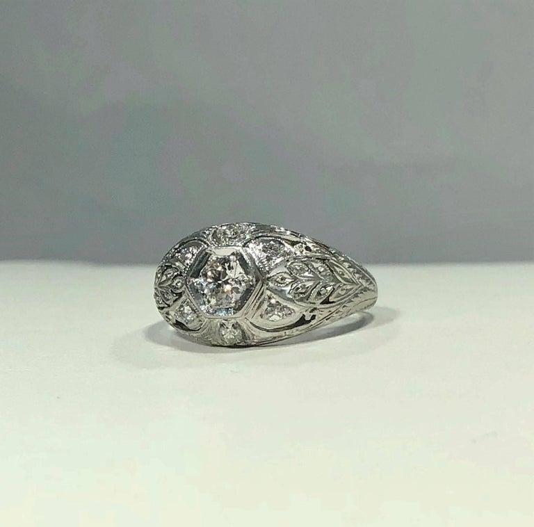 Art Deco Platinum and 18 Karat Gold European Cut Diamond Dome Engagement Ring For Sale 2