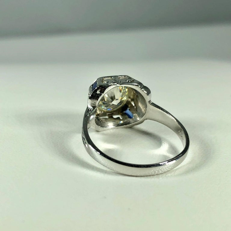 Art Deco 18 Karat 1.40 Carat European Cut Diamond and Sapphire Engagement Ring For Sale 7