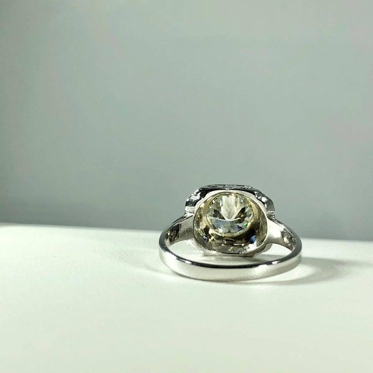 Art Deco 18 Karat 1.40 Carat European Cut Diamond and Sapphire Engagement Ring For Sale 11