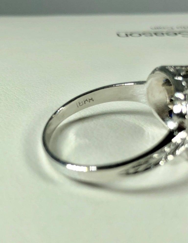 Art Deco 18 Karat 1.40 Carat European Cut Diamond and Sapphire Engagement Ring For Sale 10