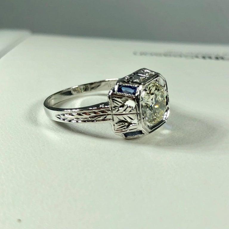 Art Deco 18 Karat 1.40 Carat European Cut Diamond and Sapphire Engagement Ring For Sale 4