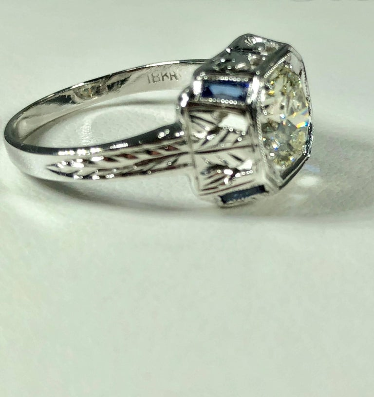 Art Deco 18 Karat 1.40 Carat European Cut Diamond and Sapphire Engagement Ring For Sale 5