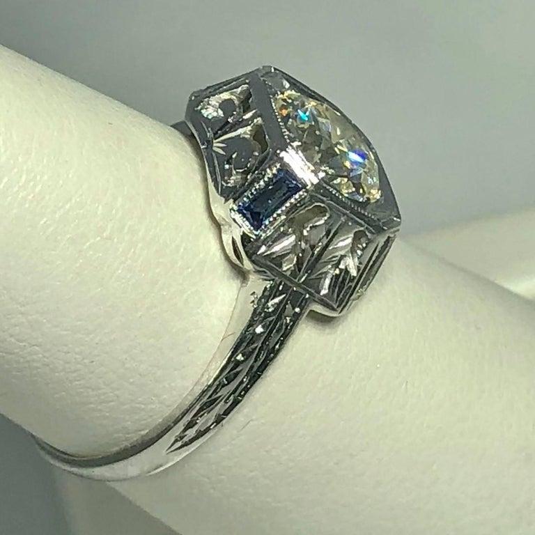 Art Deco 18 Karat 1.40 Carat European Cut Diamond and Sapphire Engagement Ring For Sale 9