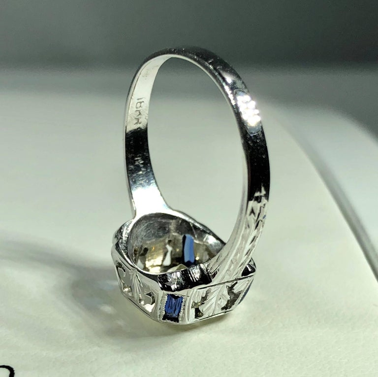 Art Deco 18 Karat 1.40 Carat European Cut Diamond and Sapphire Engagement Ring For Sale 8