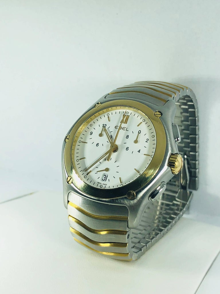 Modern Ebel Yellow Gold Stainless Steel Wave Chronograph quartz Wristwatch For Sale
