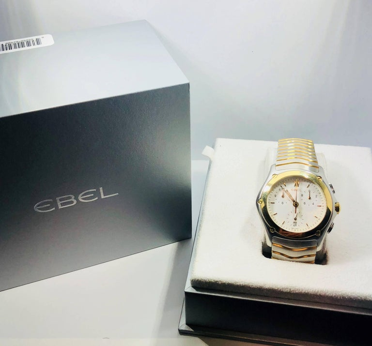Ebel Yellow Gold Stainless Steel Wave Chronograph quartz Wristwatch For Sale 7