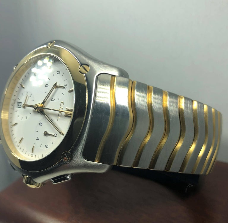Ebel Yellow Gold Stainless Steel Wave Chronograph quartz Wristwatch In Excellent Condition For Sale In Mansfield, OH