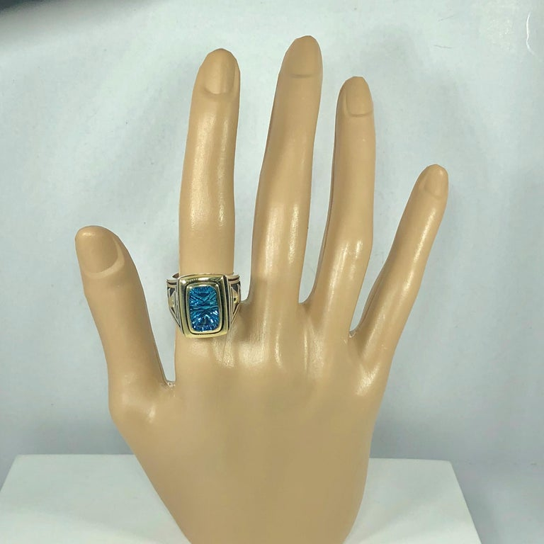 Contemporary John Atencio 18 Karat Sterling Blue Topaz Cocktail Ring For Sale
