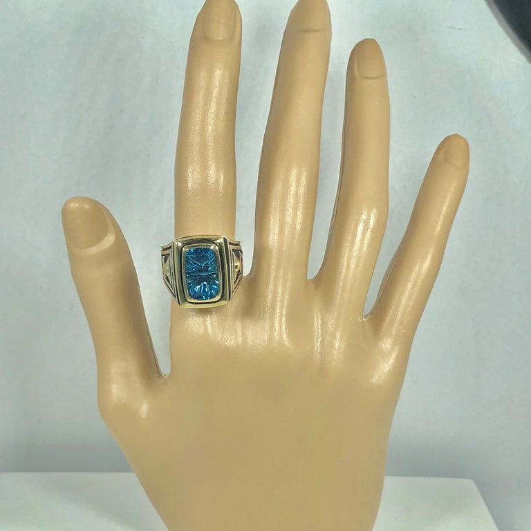 Emerald Cut John Atencio 18 Karat Sterling Blue Topaz Cocktail Ring For Sale