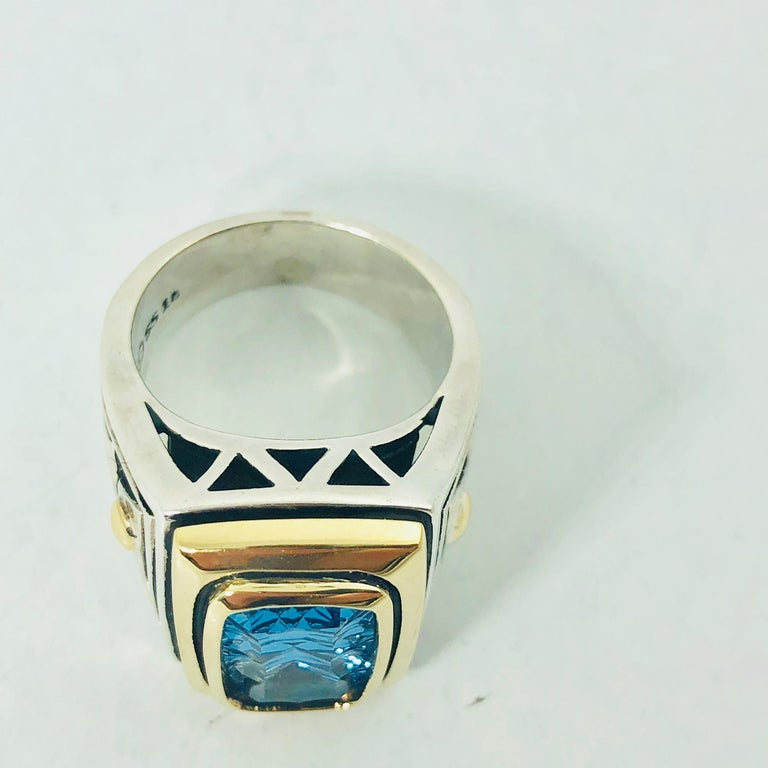 John Atencio 18 Karat Sterling Blue Topaz Cocktail Ring For Sale 1