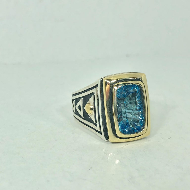 John Atencio 18 Karat Sterling Blue Topaz Cocktail Ring For Sale 3