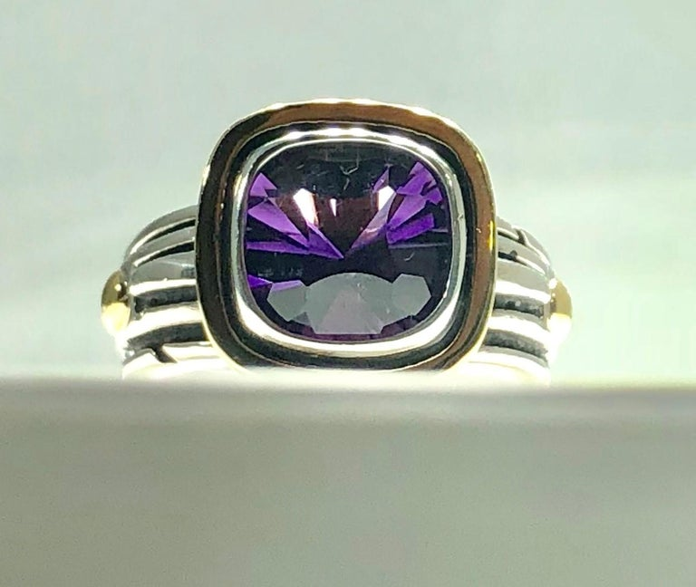 Contemporary John Atencio 18 Karat Sterling Amethyst Cocktail Ring For Sale