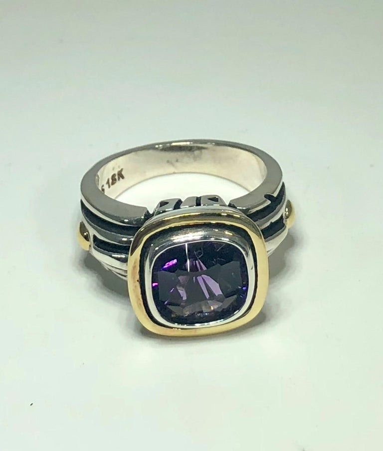 Cushion Cut John Atencio 18 Karat Sterling Amethyst Cocktail Ring For Sale