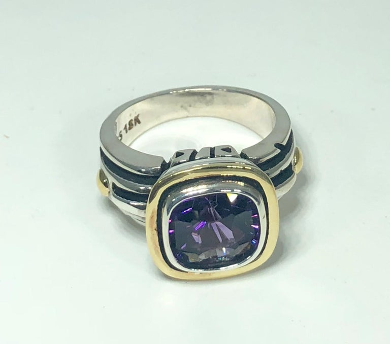 John Atencio 18 Karat Sterling Amethyst Cocktail Ring In New Condition For Sale In Mansfield, OH